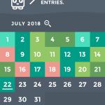 Moodistory App Screenshot: Calendar/Monthly View