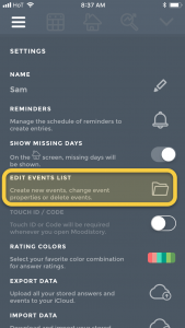 Moodistory App: Settings