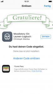 Promo Code einlösen - Code eingelöst