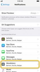 notifications moodistory