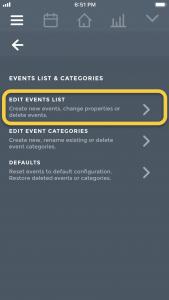 Moodistory: Edit Events List Submenu