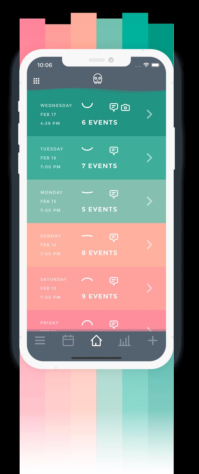 Mood Tracker App Moodistory - Theme Red Green
