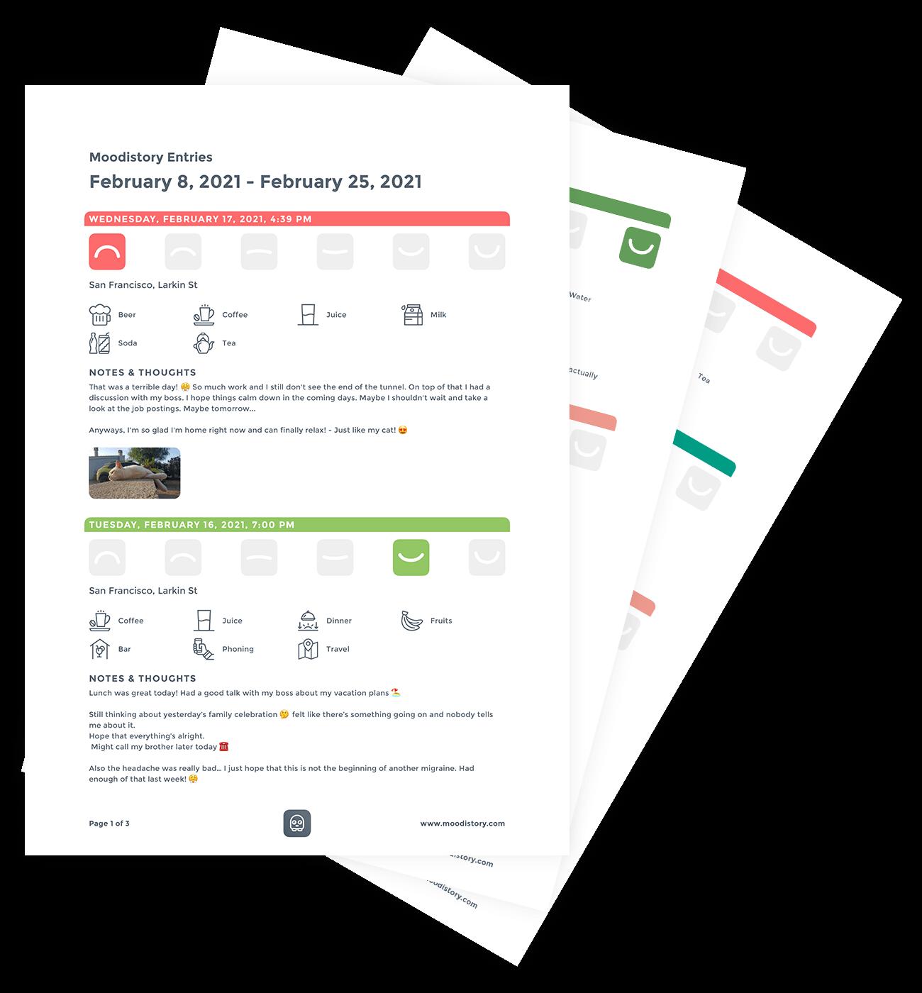 Mood Tracker App Moodistory - Create PDF