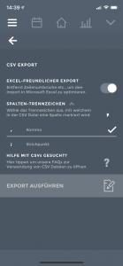 CSV Export Optionen